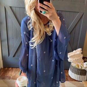 Darling Embroidered Long Sleeve Tunic Dress
